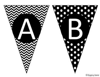 ABC Bunting- Black & White Chevron & Dots