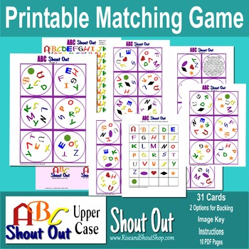 "ABC CAPITAL LETTERS Matching Game SHOUT OUT; 3"" & 5""; 31 printable cards"