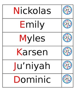 Names Mat for ABC Center