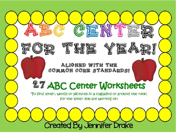 ABC Center ~To Use All Year! ~Several Ways To Use~ Aligned to Common Core!