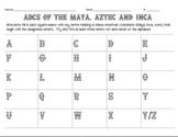 ABC Chart for Maya, Inca and Aztec Civilizations