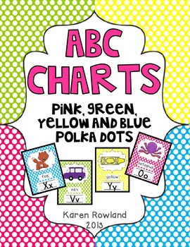 ABC Charts - Polka Dots - Pink, Blue, Green and Yellow - Classroom Decor