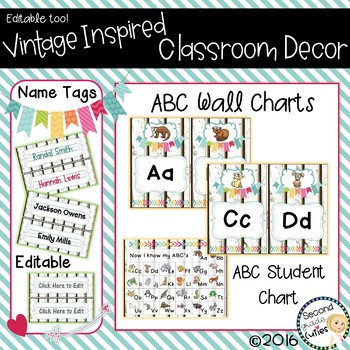 Classroom Decor ABC Wall Charts, Desk Charts, & Name Tags, Burlap & Vintage Wood