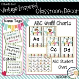 Classroom Vintage Decor ABC Wall Charts, Desk Charts, & Name Tags