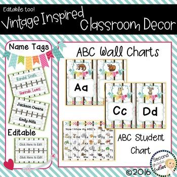 Classroom Vintage Decor ABC Wall Charts, Desk Charts, & Name Tags