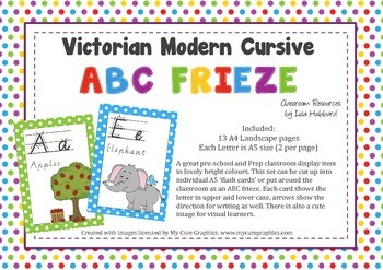 ABC Classroom Frieze or A5 Flash Cards - VIC MODERN CURSIVE FONT