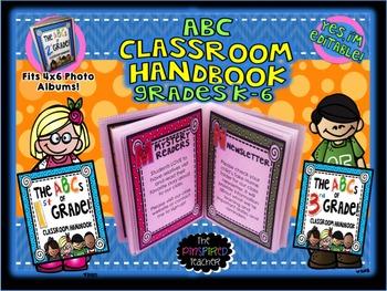 ABC Classroom Handbook for Parents K-6 (Editable!) School Kids Theme