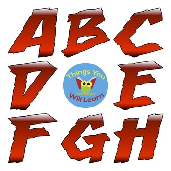 ABC Clipart Scary Red Shadow