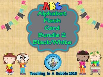 Alphabet Wall Chart & Flash Card Bundle-Black and White Version