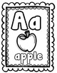 ABC Coloring Worksheets & Flash Cards B&W (Priscilla Beth @DaycareSupport)