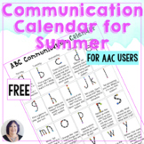 free Communication Calendar for AAC and Speech Therapy Summer 2016