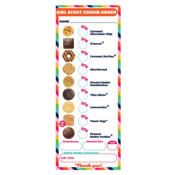 ABC Cookie Order Form Printable Download Girl Scout Inspired 3 UP