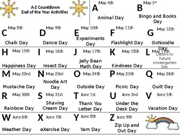 ABC Countdown Calendar - Editable