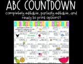 ABC Countdown Template (READY TO PRINT & EDITABLE)