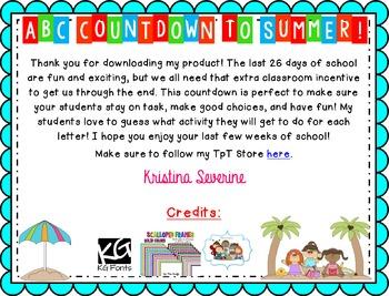 ABC Countdown to Summer {Editable Version}