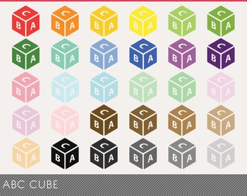 ABC Cube Digital Clipart, ABC Cube Graphics, ABC Cube PNG