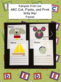 ABC Cut, Paste, and Print- M - Common Core Aligned Freebie