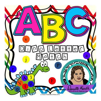 ABC Dino Letter Match - A Uppercase and Lowercase Letter Recognition Activity