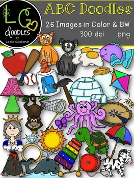 ABC Doodles Beginning Sound Graphics ~ by LG Doodles