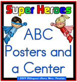 """ABC English Posters and a Center"""" Super Heroes"""" version"""