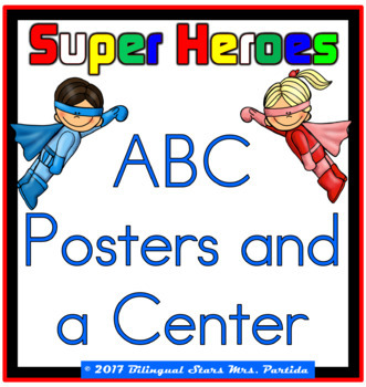 "ABC English Posters and a Center"" Super Heroes"" version"