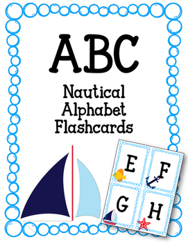 ABC Fashcards- Nautical. Boats. Fish. Anchor. Starfish. Uppercase and Lowercase