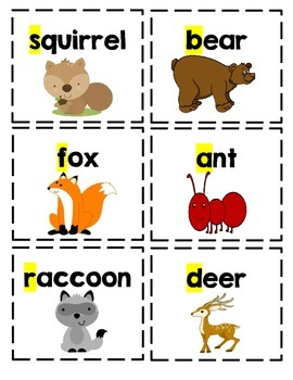 ABC Forest Animal Picture Cards
