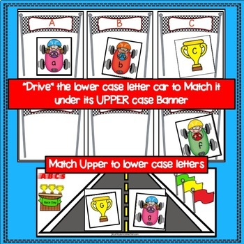 Letter Recognition! Race Car ABCs Literacy Center Activities