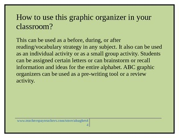 ABC Graphic Organizer with Directions