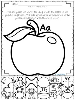 ABC Graphic Organizers {Cut and Paste} for Kindergarten and First Grade