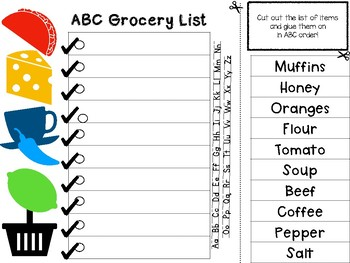 ABC Grocery- Put the list in ABC Order!