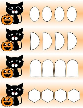 Black Cat - Line and Shape Trace - Activity Strips