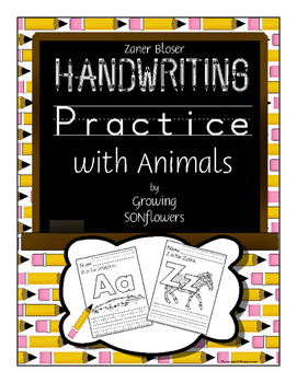ABC Handwriting Practice with Animals Through the Alphabet Zaner Bloser 2 sets