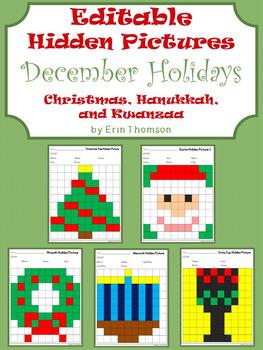 Editable Hidden Pictures ~ December Holidays {Christmas, Hanukkah, and Kwanzaa}