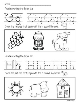 ABC Homework Pages - letter writing and sound practice