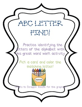 ABC Letter Find- Word Work