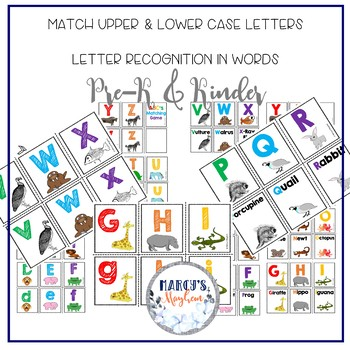 Letter Recognition Activity for ABC's and Animal Matching