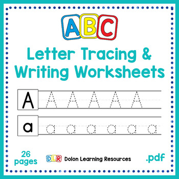 ABC Letter Tracing and Writing Worksheets by Dolon Learning Resources
