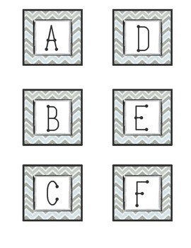 FREE ABC Letters for Word Wall- Gray and Blue Chevron