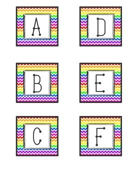 ABC Letters for Word Wall- Rainbow Chevron