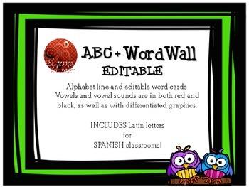ABC Line + Editable Word Wall Cards - Owl Decor (+Spanish characters)