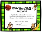 ABC Line + Editable Word Wall Cards - Monkey Decor (+Spanish characters)