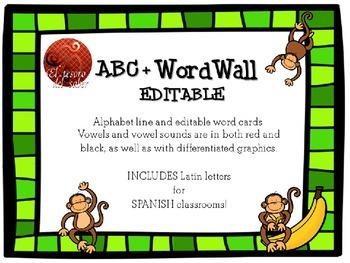 ABC Line + Editable Word Wall Cards - Monkey Decor (+Spani