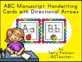 ABC Manuscript Handwriting Cards with Directional Arrows - Rainbow Squares
