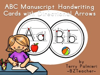 ABC Manuscript Handwriting Cards with Directional Arrows - Black Dot Circles