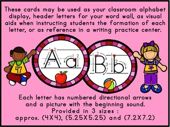 ABC Manuscript Handwriting Cards with Directional Arrows - Raspberry Circles