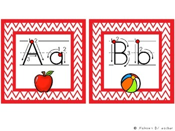 ABC Manuscript Handwriting Cards with Directional Arrows - Red Chevron Squares