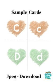 ABC Match Cards, Hearts Letters,  Caps & Lower case  Match set