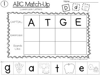 ABC Match Up (A Z Letter/Sound Recognition) by Inspired Elementary