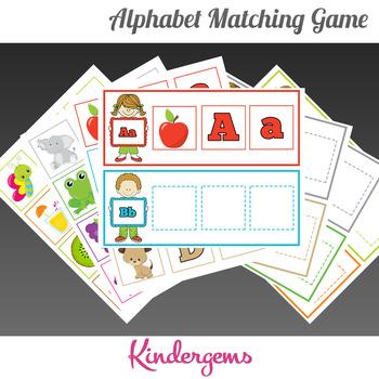 ABC Matching Game Instant Download PDF; Preschool, Kindergarten, School